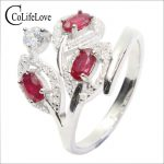 Promotion Leaf shape natural ruby ring stamped 925 <b>silver</b> 3 ps 3*5mm Burma ruby <b>silver</b> <b>jewelry</b> Brithday stone ring for July gift