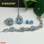 KJJEAXCMY boutique jewels 925 <b>silver</b> inlaid with natural blue topaz ring pendant <b>earrings</b> bracelet lady suit for necklace.