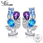 JewelryPalace Flower 2.5ct Natural Amethyst Blue Topaz Clip On <b>Earrings</b> Solid 925 Sterling <b>Silver</b> New Fashion Jewelry For Women