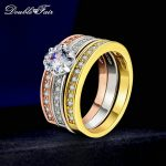 Double Fair 3 Rounds Women's Ring Set Silver/Rose Gold Color Flower Crystal Stone Wedding <b>Jewelry</b> Rings For Women Femal DFR107