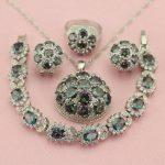 WPAITKYS Classic Ball Rainbow Color Stone <b>Silver</b> Color Wedding Jewelry Sets For Women Earrings <b>Bracelet</b> Pendant Ring Free Box