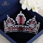 Luxurious Tiaras Crowns for Brides with Red Zircon Plate Crystal <b>Wedding</b> Hairbands Silver Bridal Hair Accessories Prom <b>Jewelry</b>