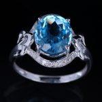 HELON <b>Sterling</b> <b>Silver</b> 925 Oval Cut 12mm x 9mm 100% Genuine Blue Topaz Gorgeous Engagement Wedding Pave Real Diamond <b>Jewelry</b> Ring