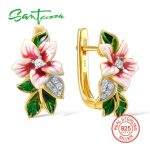 SANTUZZA <b>Silver</b> Flower Earrings For Women 925 <b>Sterling</b> <b>Silver</b> Earrings <b>Silver</b> 925 Cubic Zirconia brincos <b>Jewelry</b> Enamel