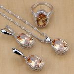 Mystic 925 Sterling Silver Bridal <b>Jewelry</b> Champagne AAAA CZ <b>Jewelry</b> Sets For Women Earrings/Pendant/Necklace/Rings