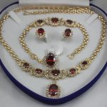 Prett Lovely Women's Wedding 2 choices wholesale red crystal 10*14mm ring(#7.8.9) 18″ chain pendant necklace stud earrings &brac