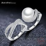 ANFASNI New Arrival 925 Sterling Silver Ring Pearl <b>Jewelry</b> Top Quality Two Finger Ring for Women With Gift Box CGSRI0040-B