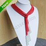 Fashion 4MM Pink Corel&Shell Pearl Necklace women girls gift beads Round Stones 3pcs <b>Jewelry</b> <b>making</b> design 50inch wholesale