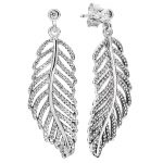 Authentic 925 Sterling Silver Earring Statement Feathers Crystal Hanging Earrings For Women <b>Wedding</b> Gift fit Lady <b>Jewelry</b>