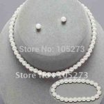 Kids Girls White Pearl Necklace <b>Bracelet</b> Earring 3pcs Set Flower Girl Pageant New Fashion Jewelry set Free Shipping FN609