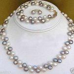 Women'sWedding Natural Fine Jewelry Black White pearl necklace <b>bracelet</b> earrings set real <b>silver</b>-jewelry