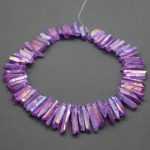 Purple Crystal Titanium AB Healing Crystal Quartz Beads Top Drilled Point Pendant, Rock Quartz Crystal Women Fine <b>Jewelry</b> <b>Making</b>