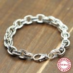 S925 <b>sterling</b> <b>silver</b> bracelet personalized fashion classic <b>jewelry</b> vintage domineering letters couple punk hip hop style hot