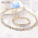 MOLIAM Luxury Bridal <b>Wedding</b> <b>Jewelry</b> Sets for Women Cubic Zirconia Bracelet Earings and Necklace Set 2018 New Arrival MLT803