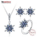 LZESHINE 100% 925 Sterling <b>Silver</b> Snowflower Pendant/ <b>Earrings</b> /Ring 3pcs Set with AAA CZ Stone Christmas Jewelry Gift PSST0013