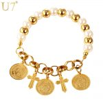 U7 Strand Bracelet Gold Color Jesus piece Cross Charms Simulated White Pearl Christian <b>Jewelry</b> Bracelets For Women Gift H824