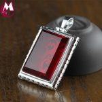 33*23mm Rectangle Big Ruby Black Agate Hollow Carving Flower Ethnic <b>Jewelry</b> Real 925 <b>Sterling</b> <b>Silver</b> Necklace Pendant For Women