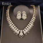 RAKOL Luxury Micro Paved Cubic Zirconia Dubai <b>Jewelry</b> Set for Big Gold Color Leaves Bridal <b>Wedding</b> Party Dinner Dress