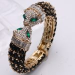 Bella <b>Fashion</b> Black Panther Leopard Kiss Bangles & Bracelets Austrian Crystal Rhinestone Animal Bangle Cuff For Party <b>Jewelry</b>