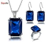 Szjinao Sapphire African Beads 925 <b>Silver</b> Crystal <b>Jewelry</b> Sets For Women Wedding Bridal /Ring/Pendant/Earrings Accessories