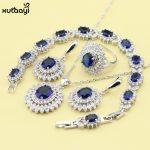 XUTAAYI Blue Cubic Zirconia AAA Quality 925 Silver <b>Jewelry</b> Sets For Women Classy Wedding Necklace/Rings/Earrings/Bracelet