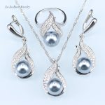 L&B <b>Handmade</b> Silver color <b>Jewelry</b> Hollow Out Water Drop With Imitation gray Pearl <b>Jewelry</b> Sets For Wedding