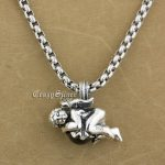 925 Sterling <b>Silver</b> Lovely Angel Red CZ Stone Fashion Pendant 9S002 Stainless Steel <b>Necklace</b> 24 inch