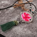 Ethnic Silver Women Necklaces Pendants Chinese Embroidery Original Lucky Lock Long <b>Jewelry</b> For Female <b>Accessories</b> Girl gifts