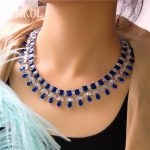 ZAKOL Sparkling Clear Water Drop Cubic Zirconia Earrings <b>Necklace</b> <b>Jewelry</b> Sets For Elegant Bridal Wedding Dinner Dress FSSP390
