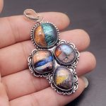 50% OFF Natural Dichroic Glass Colorful Vintage 925 Sterling <b>Silver</b> <b>Necklace</b> Pendant Charms 2 3/4 Inch HP64 Free Shipping