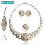 MECHOSEN Luxury Nigerian Wedding Jewelry Sets For Women 2 Tone Gold <b>Silver</b> Color Mixed Zirconia Necklace Earrings Ring <b>Bracelet</b>