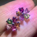 natural multicolor tourmaline stud <b>earrings</b> s925 <b>silver</b> Natural gemstone women romantic flowers stud <b>earrings</b> for party