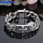 TrustyLan Retro Chain Link Bracelet Men 17MM Wide Heavy Cross Stainless Steel Men's Bracelets Cool Punk Male <b>Jewelry</b> Wristband