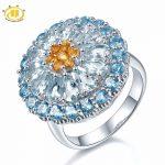 Hutang 5.54ct Genuine Aquamarine Engagement Ring Blue Topaz Solid 925 <b>Sterling</b> <b>Silver</b> Cluster Gemstone Luxury Fine Stone <b>Jewelry</b>
