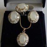 Prett Lovely Women's Wedding Excellent <b>Jewelry</b> White Opal stone Beads Pendant necklace Earring Zircon Ring Set