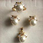 Prett Lovely Women's Wedding fancy <b>jewelry</b> set 10mm white shell pearl,ring, pendant & stud earring