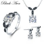 [BLACK AWN] 925 Sterling <b>Silver</b> Fine Jewelry Sets Round Engagement Sets Necklace+<b>Earring</b>+Ring for Women PTR035