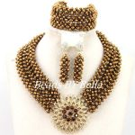 <b>Handmade</b> Coffee Crystal Bridal Necklace Set African Beaded Party <b>Jewelry</b> Set Bridesmaid Gift <b>Jewelry</b> Set Free Shipping ABY412