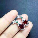 natural red garnet stone drop <b>earrings</b> 925 <b>silver</b> Natural gemstone <b>earring</b> women Butterfly shape drop <b>Earrings</b> for party