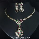 Vintage Royal Design Gold Color Created Emerald Green And Red Stone Pave Big Drop Indian Zirconia <b>Jewelry</b> Set For Women T187