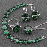 Women Green Zircon Costume Silver 925 <b>Jewelry</b> Sets Earrings With Stones Pendant&Necklace Rings Bracelets Set Jewelery Gift Box