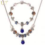 U7 DIY Bead Necklace Set Tibetan <b>Silver</b> Color Opal Stone Pendant Necklace <b>Bracelet</b> Bohemian Jewelry Set S607