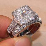 Victoria Brand New Drop Shipping Luxury <b>Jewelry</b> Pave 134PCS Tiny AAA Cubic Zirconia Princess CZ Women <b>Wedding</b> Bridal Ring Set