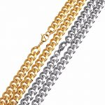 LOULEUR Gold Silver Color 60cm Stainless Steel Chains Bulk Wide 8mm Flat Link Rolo Chains for Necklace Bracelet <b>Jewelry</b> <b>Making</b>