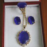 Women's Wedding lady's noblest Inlay dark blue gem stone Necklace Earring Ring set silver-<b>jewelry</b> moda real silver-<b>jewelry</b>