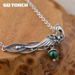 GQTORCH 990 Sterling <b>Silver</b> Chain <b>Necklace</b> With Pendants Vintage Peacock With Colorful Gemstone Natural Chalcedony And Malachite