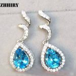 ZHHIRY Natural Blue Topaz Earring Genuine Solid 925 <b>Sterling</b> <b>Silver</b> Gem Earrings Women Stone Fine <b>Jewelry</b> Birthstone
