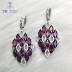 TBJ,New 2018 natural rhodolite gemstone Clasp Dangle <b>Earrings</b> Pure 925 <b>Sterling</b> <b>Silver</b> Fine Jewelry For Women Girl party wear