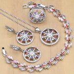 New Arrival Flower Multicolor Zircon <b>Silver</b> 925 Jewelry Sets For Women Wedding Earrings/Pendant/Rings/<b>Bracelet</b>/Necklac Set