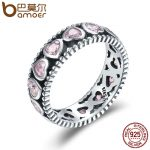 BAMOER Authentic 925 Sterling Silver Stackable Ring Radiant Heart Pink Crystal CZ Finger Rings for Women Wedding <b>Jewelry</b> SCR166
